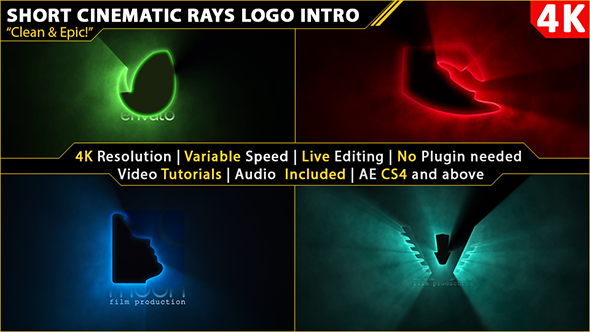 Short Cinematic Light Rays Logo Intro