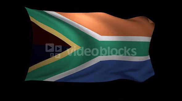 South Africa Flag 3D Rendering with Alpha Channel