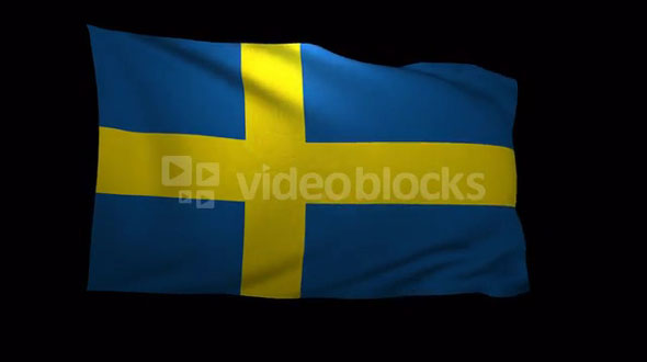 Sweden Flag 3D Rendering with Alpha Channel