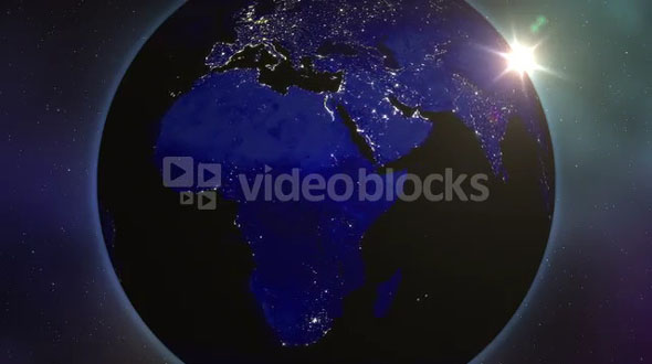 Sun Peaking Out Behind Earth Light Up at Night