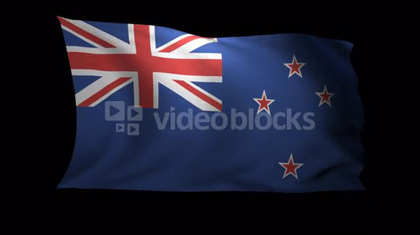New Zealand Flag 3D Rendering with Alpha Channel