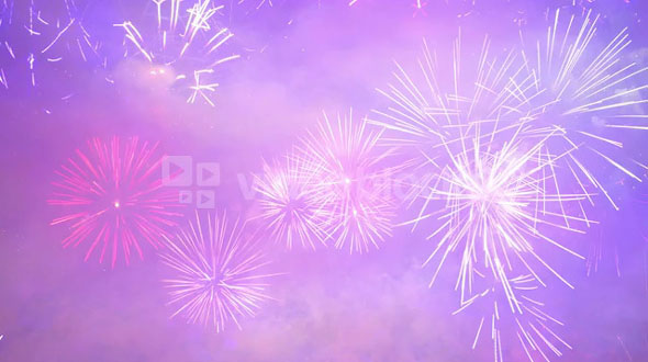 Blue Purple Firework Explosions