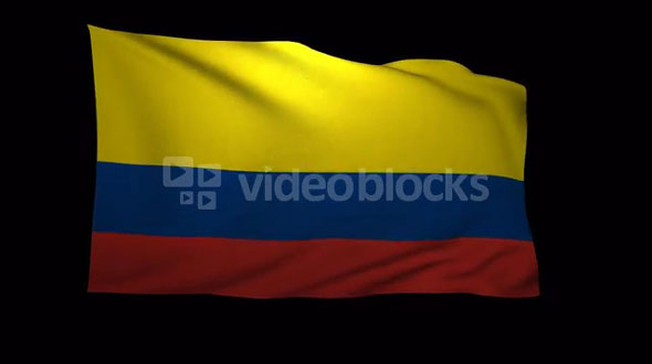 Colombia Flag 3D Rendering with Alpha Channel