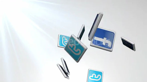 Falling Twitter And Facebook Tiles