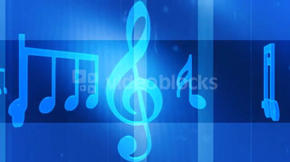 Music Notes and Symbols Carousel Blue