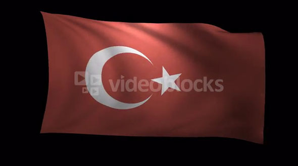 Turkey Flag 3D Rendering with Alpha Channel
