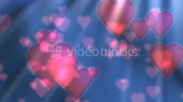 Floating Pink Hearts On Blue