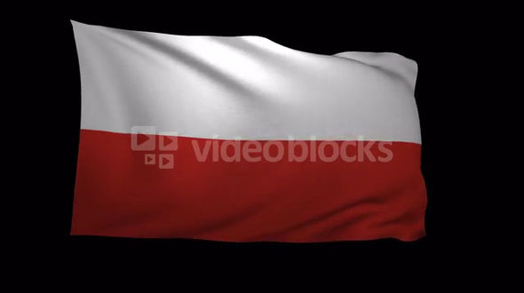 Poland Flag 3D Rendering with Alpha Channel