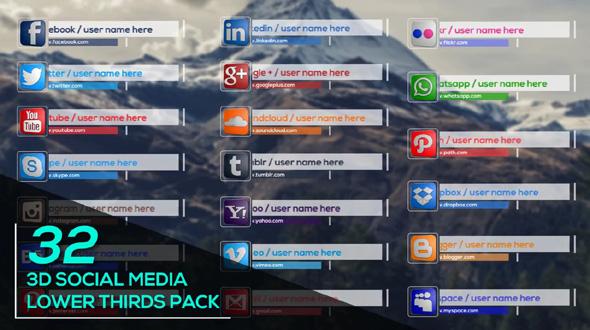 32 3D Social Media Lower Thirds Pack