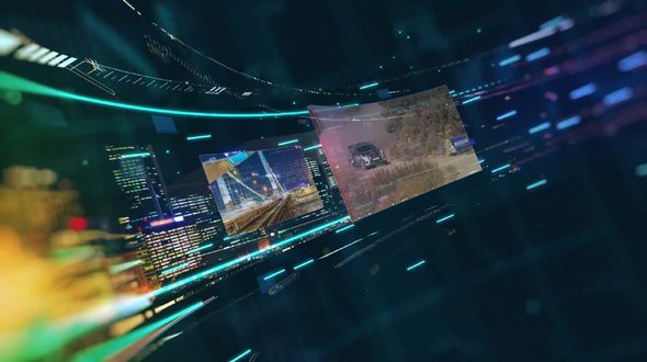 Looped Background With 3D Screens