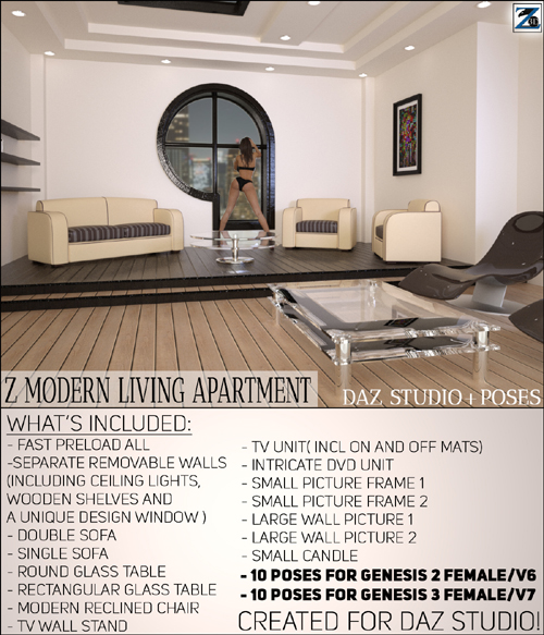 Z Modern Living Apartment + Poses - Daz Studio
