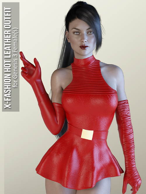 X-Fashion Hot Leather Outfit for Genesis 3 Females