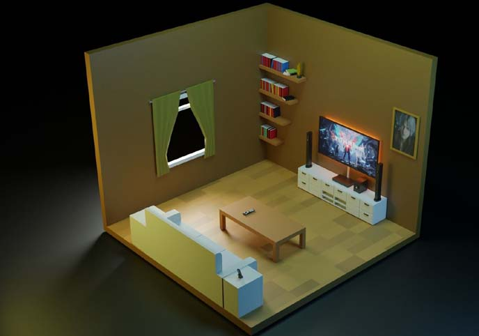 Low Poly Isometric Living Room