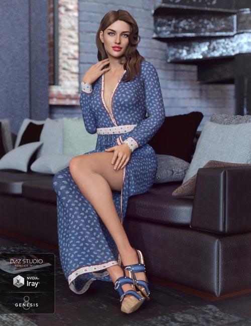 dForce V-Neck Maxie Dress for Genesis 8 Female(s)