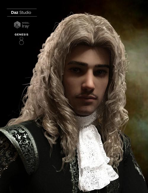Fouquet Loose Curls Wig and Thin Mustache for Genesis 8.1 Males
