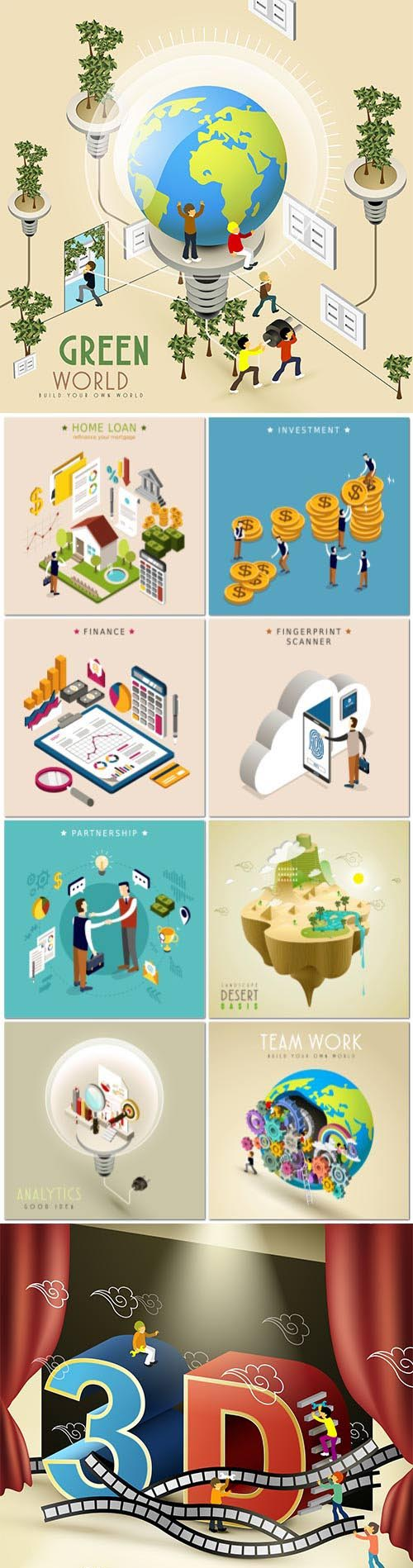 Concept in 3d isometric flat design vector template vol 6