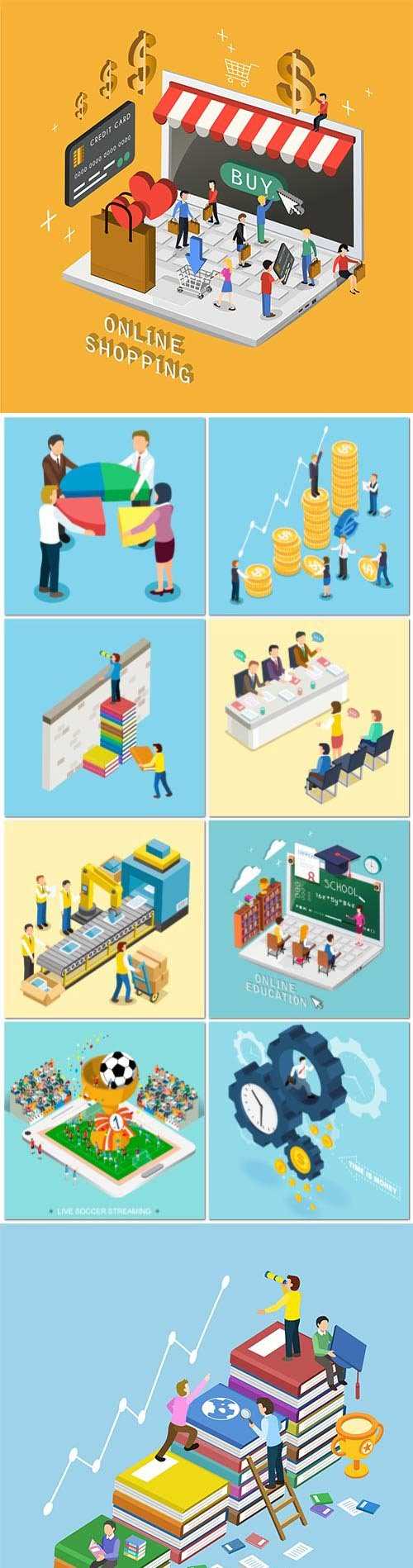 Concept in 3d isometric flat design vector template vol 5
