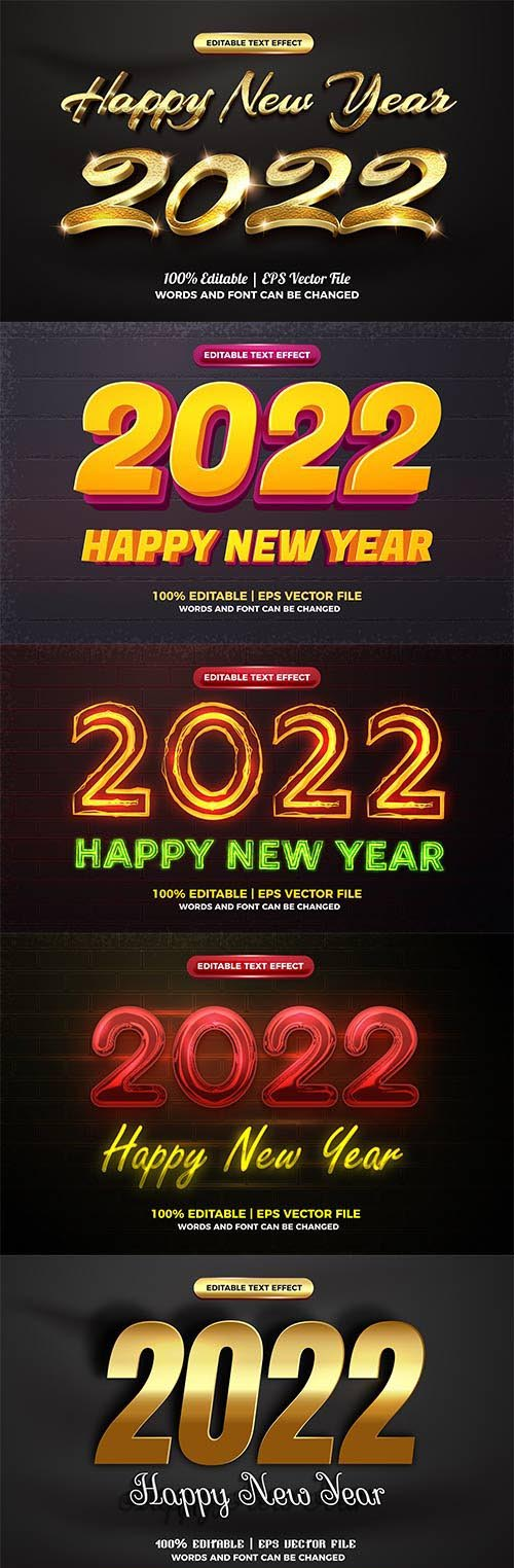 Happy new year 2022 3d gold text style effect vector