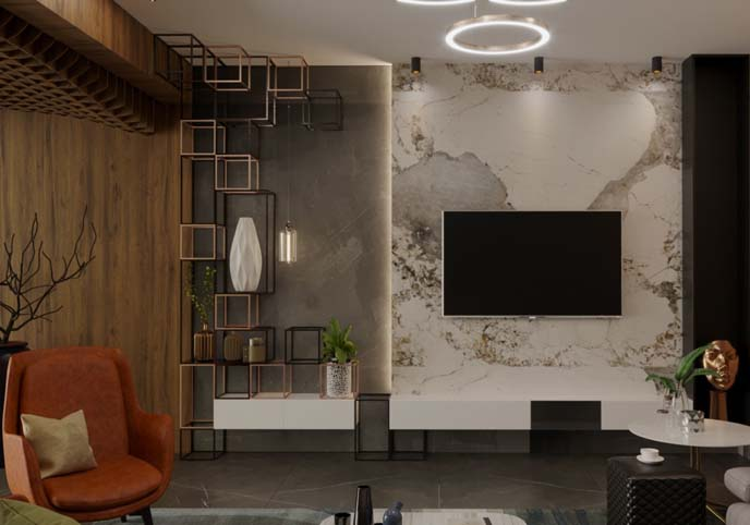 living room 3d model interior morden with parametric ceiling