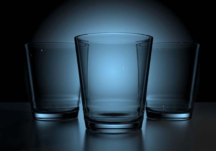 3D glass cup model empty