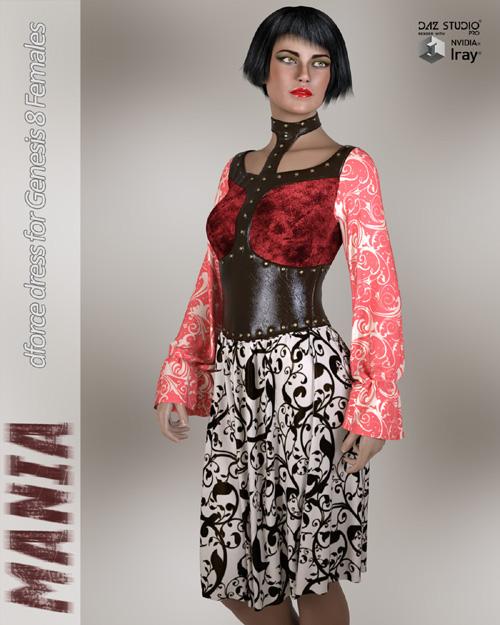 Mania dForce dress for Genesis 8 Females