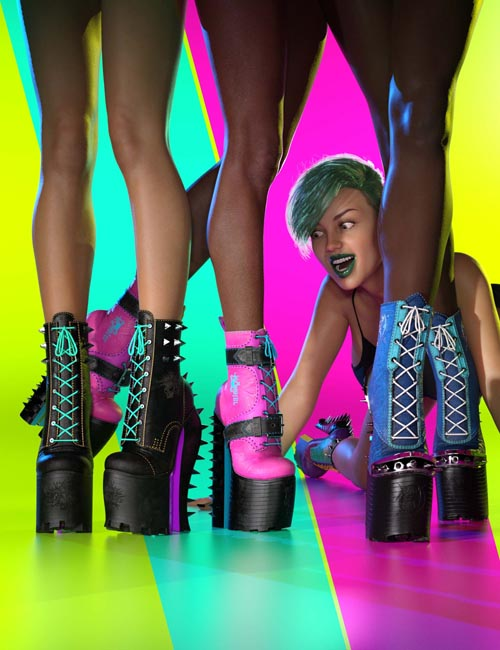 Punkish Boots Collection for Genesis 8 and 8.1 Females