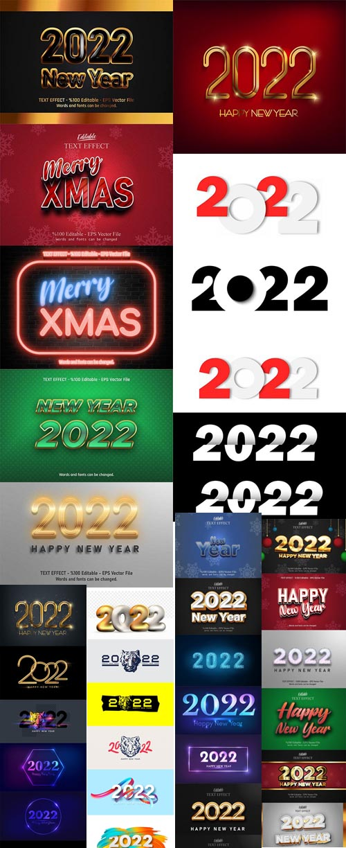 2022 Number New year, Merry christmas editable text effect premium