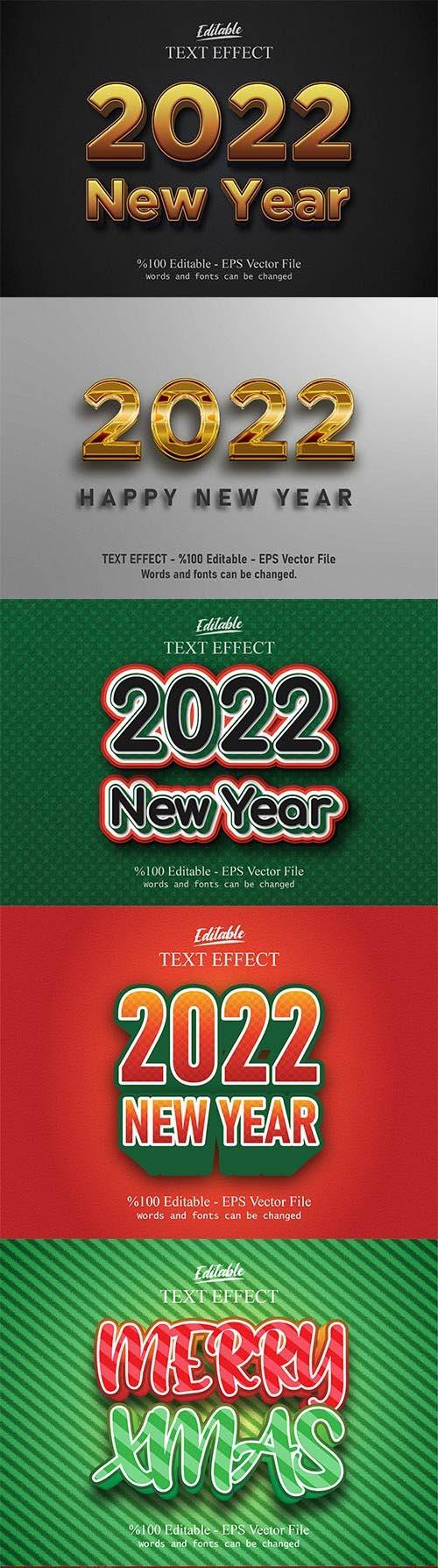 2022 New year, Merry christmas editable text effect premium vector vol 4