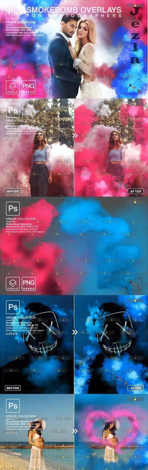 Gender reveal smoke photoshop overlay & Pink smoke bomb V2 - 1612665