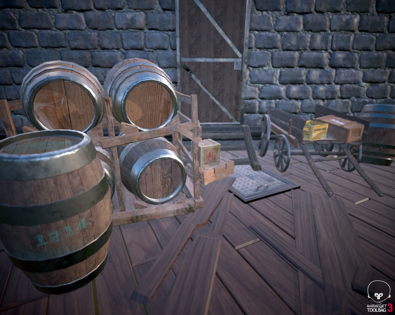 Medieval Barrels and boxes scene