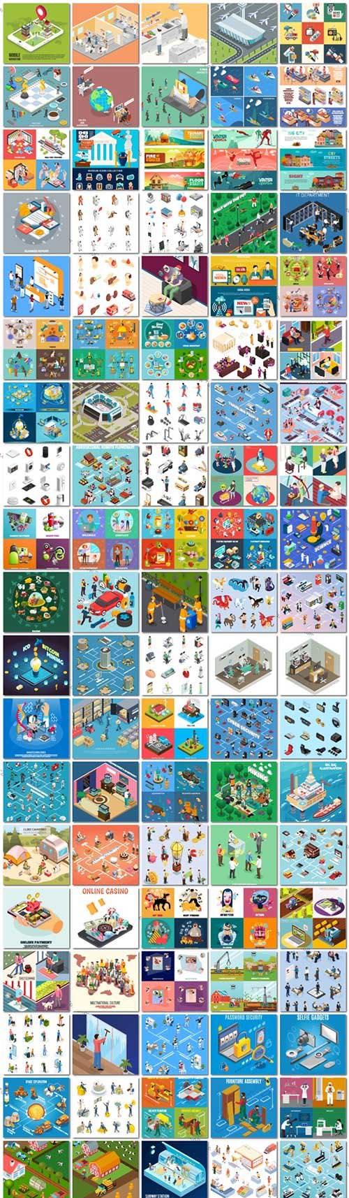 100 Bundle isometric concept vector design vol 3