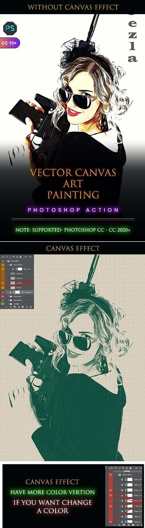 Vector Canvas Art Painting Photoshop Action - 33762445