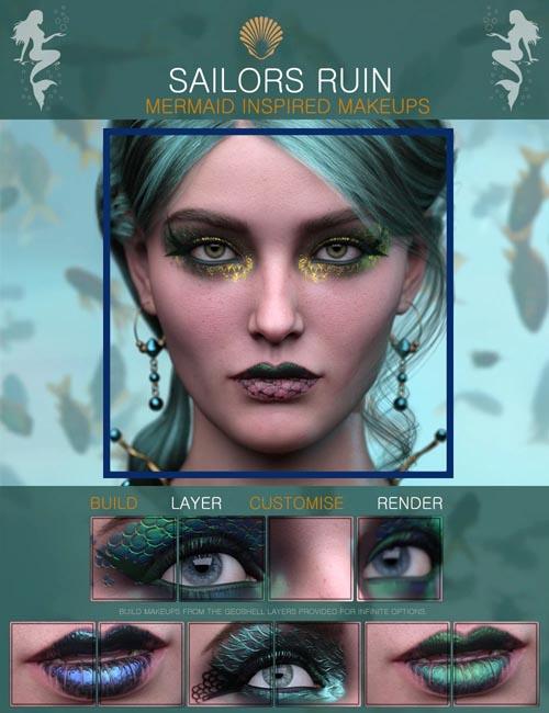Sailors Ruin Mermaid-Inspired Geoshell Makeup for Genesis 3 and 8 Female