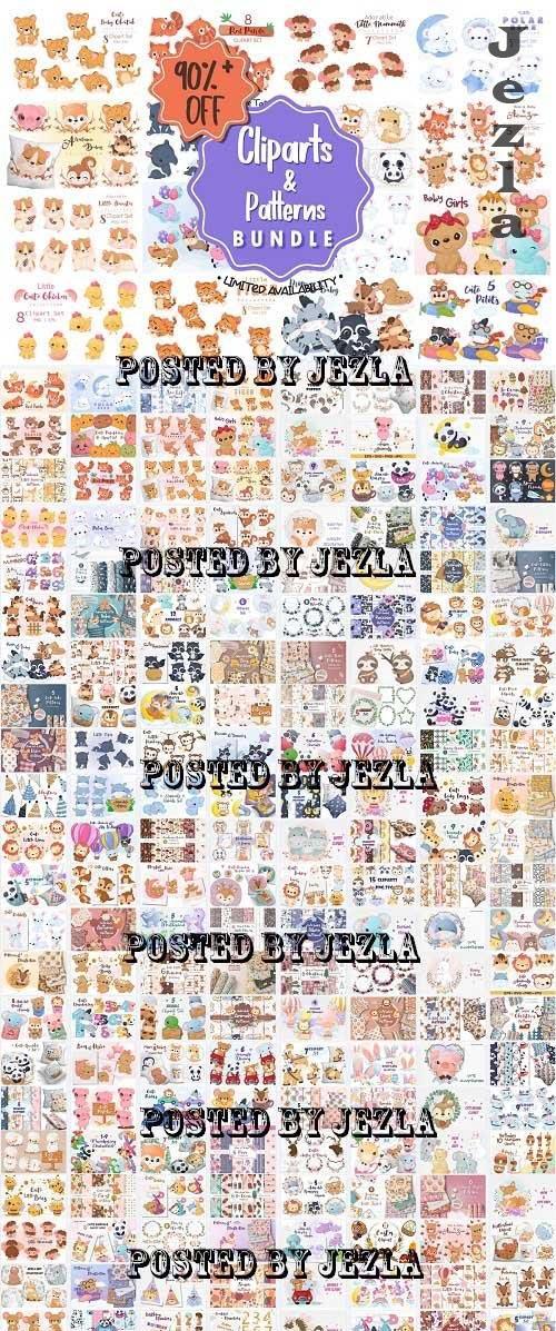 Cute Animals & Patterns Big Bundle - 183 Premium Graphics