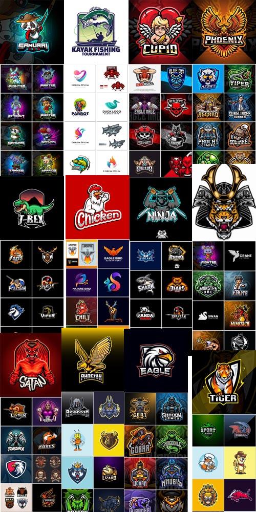 Mascot logo design set premium vector colection vol 01