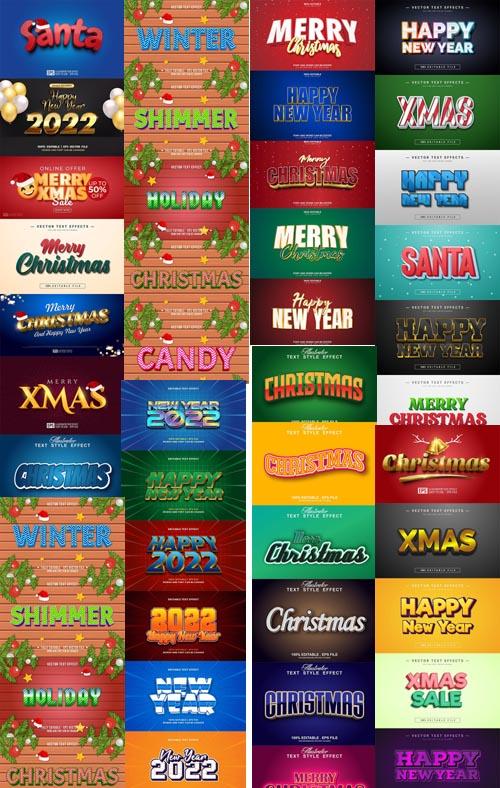 Mega 2022 New year, Merry christmas editable text effect premium vector