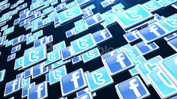 Jumping Twitter And Facebook Icons