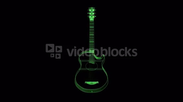 spinning green transparent guitar