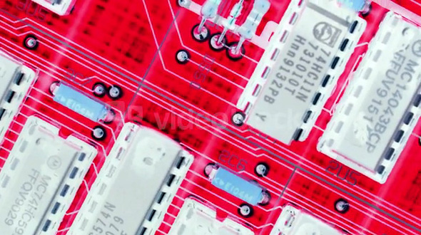 Spinning Computer Circuit Board