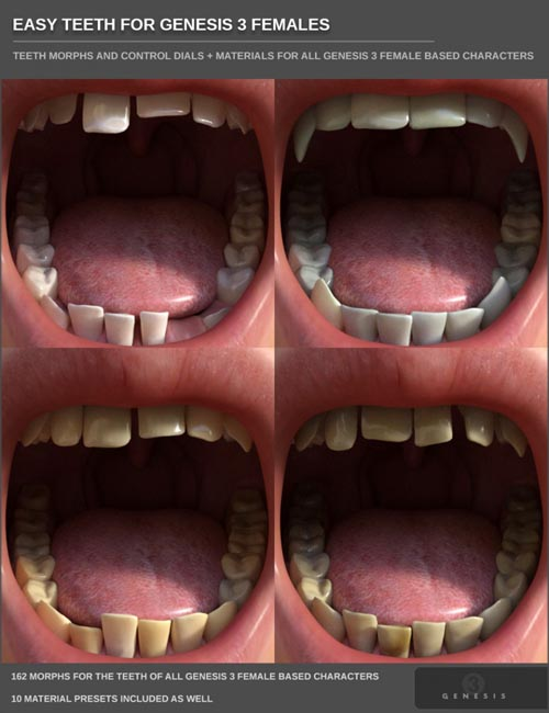 Easy Teeth for Genesis 3 Female(s) and Merchant Resource
