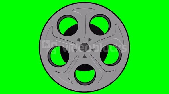 Spinning Film Reel Green Screen 2