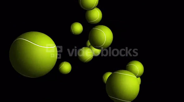 Transparent Flying Tennis Balls Alpha Channel Loop