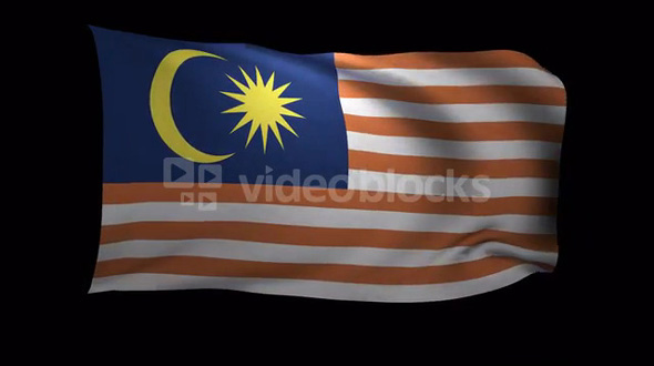 Malaysia Flag 3D Rendering with Alpha Channel