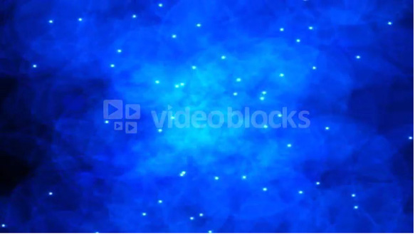 White star lights fall in front of a blue matter curtain (Loop).
