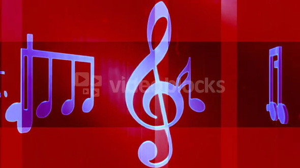 Music Notes and Symbols Carousel Red