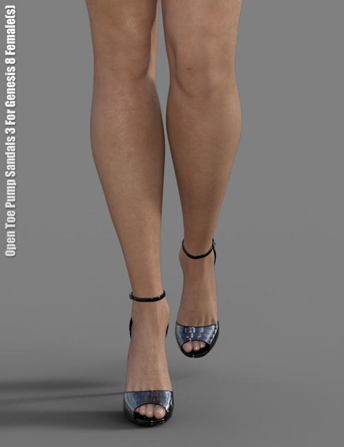 Open Toe Pump Sandals 3 for Genesis 8 Female(s)