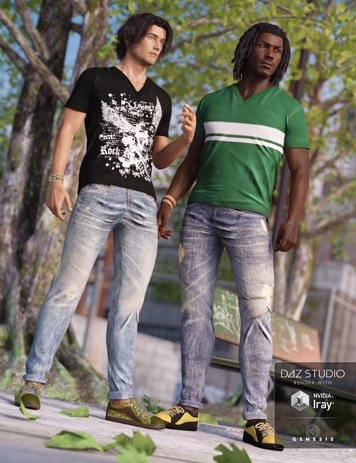 V-Neck T-Shirt and Jeans Outfit Textures
