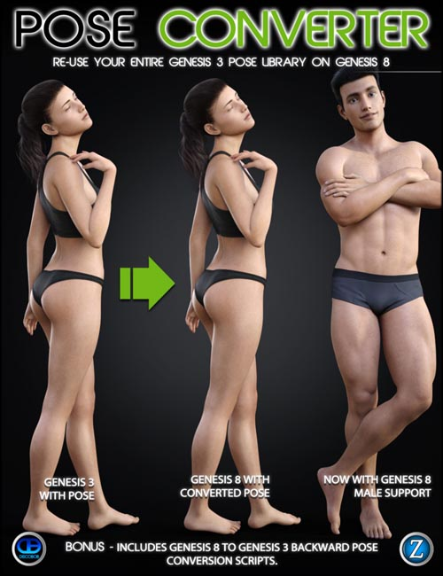 Genesis 3 to Genesis 8 Pose Converter (with Genesis 8 Male support)