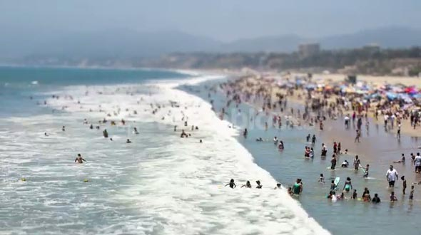 Wide Santa Monica Beach Tilt Shift Timelapse