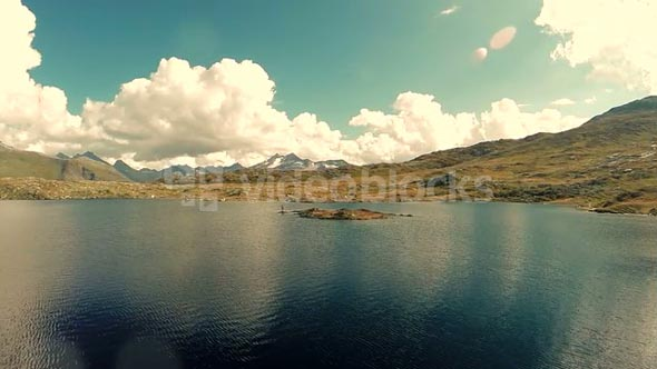mountain lake scenery. panoramic nature aerial view
